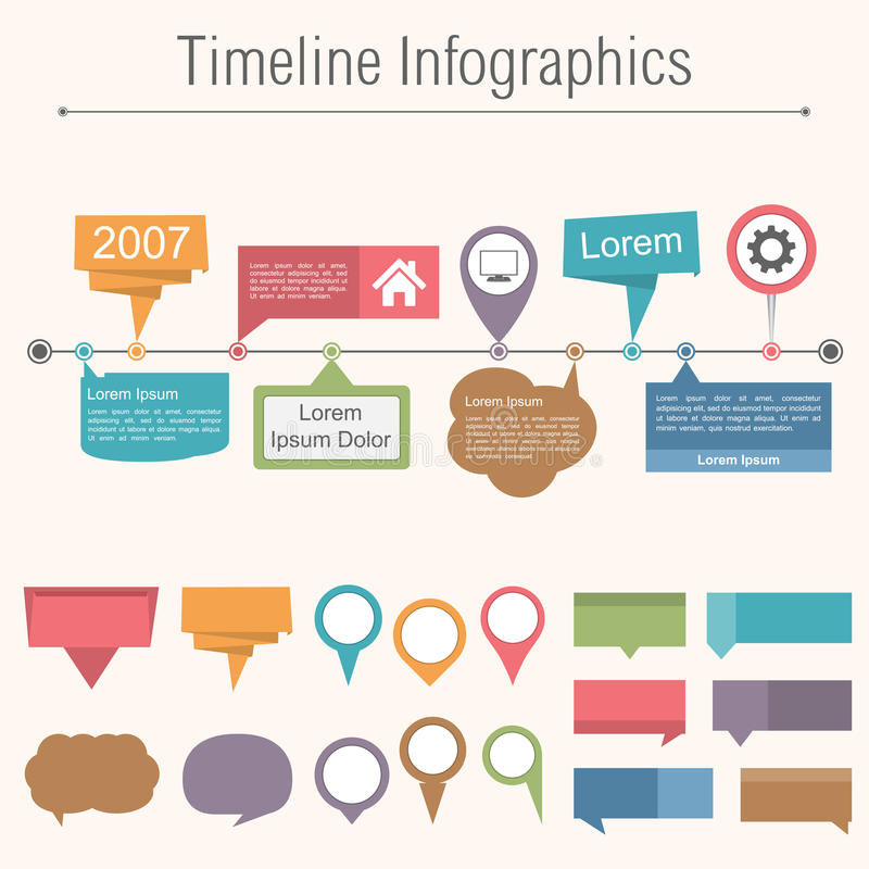 Timeline Infographics vektor illustrationer