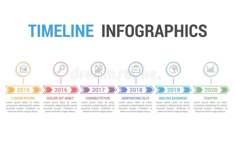 Timeline Infographics. With arrows with 6 steps, vector eps10 illustration vector illustration