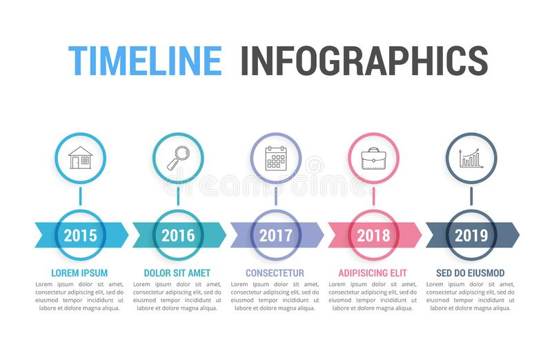 Timeline Infographics. With arrows with 5 steps, workflow, process, history diagram vector illustration