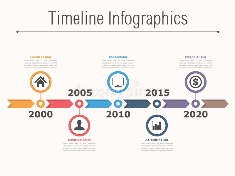 Timeline Infographics. Design with arrows, workflow or process diagram, flowchart royalty free illustration