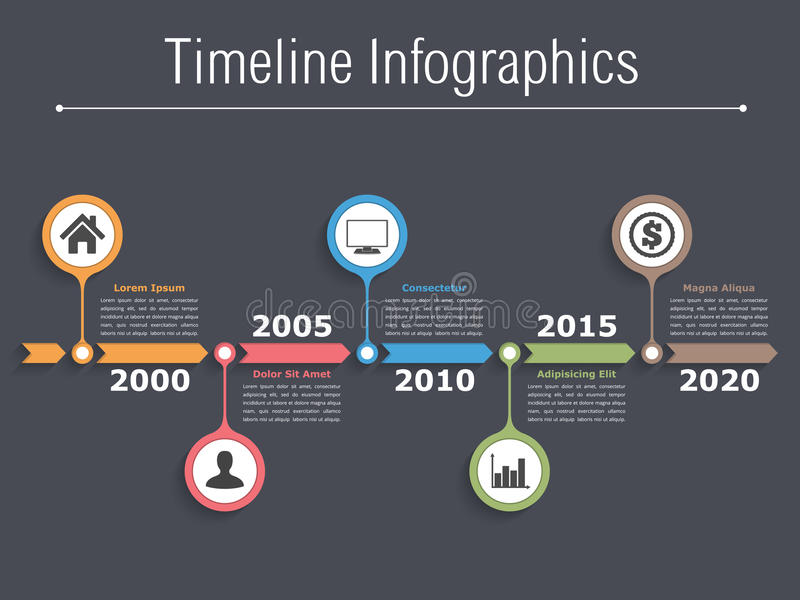 Timeline. Infographics design with arrows, workflow or process diagram, flowchart stock illustration