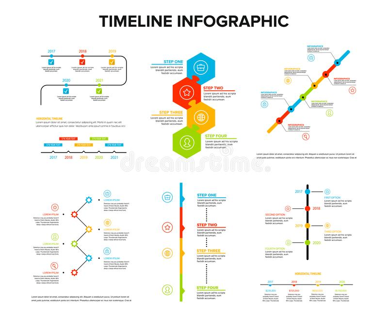 Timeline infographics design set with flat style , work flow or process diagram, flowchart, vector illustration vector illustration
