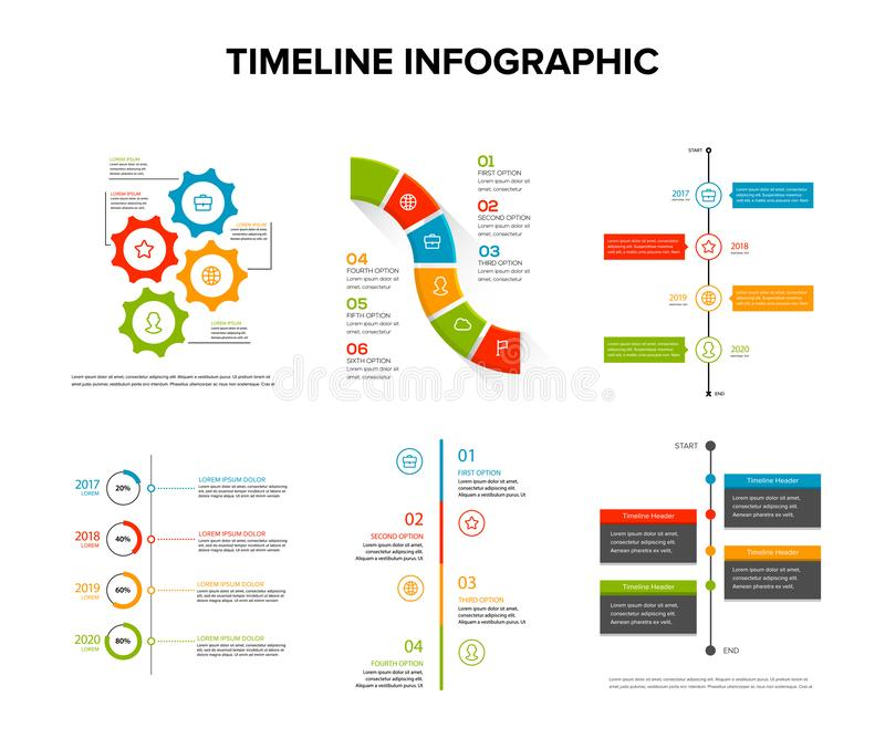 Timeline infographics design set with flat style , work flow or process diagram, flowchart, vector illustration. Template royalty free illustration