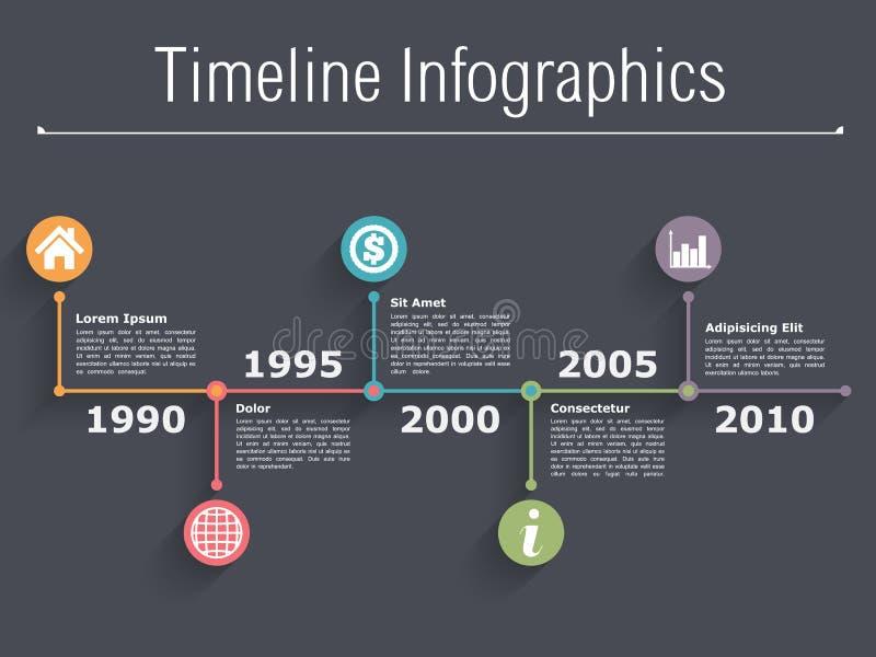 Timeline Infographics. Design template on dark background stock illustration