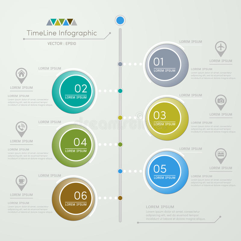 Timeline infographics design template with icons. Process diagram, vector eps10 illustration stock illustration