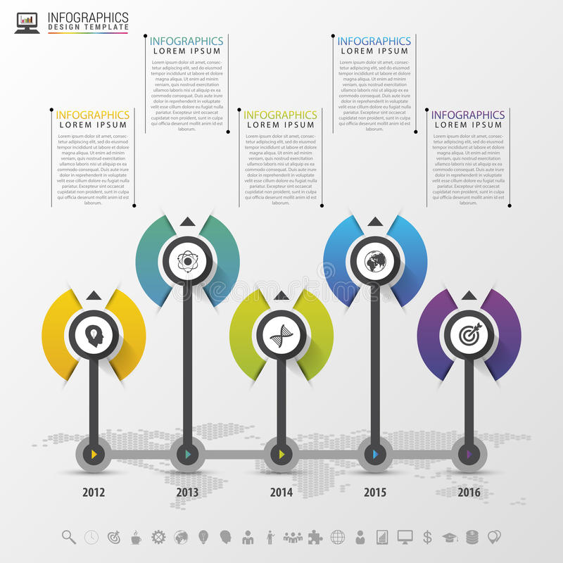 Timeline infographics design template with icons. Vector illustration.  stock illustration
