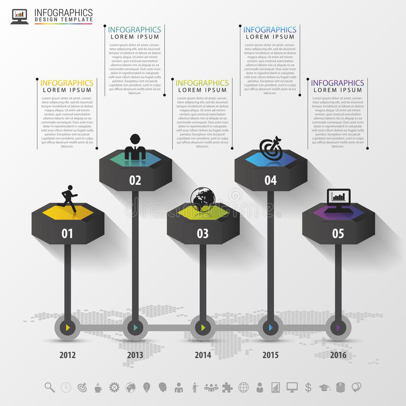 Timeline infographics design template with icons. Vector illustration.  royalty free illustration