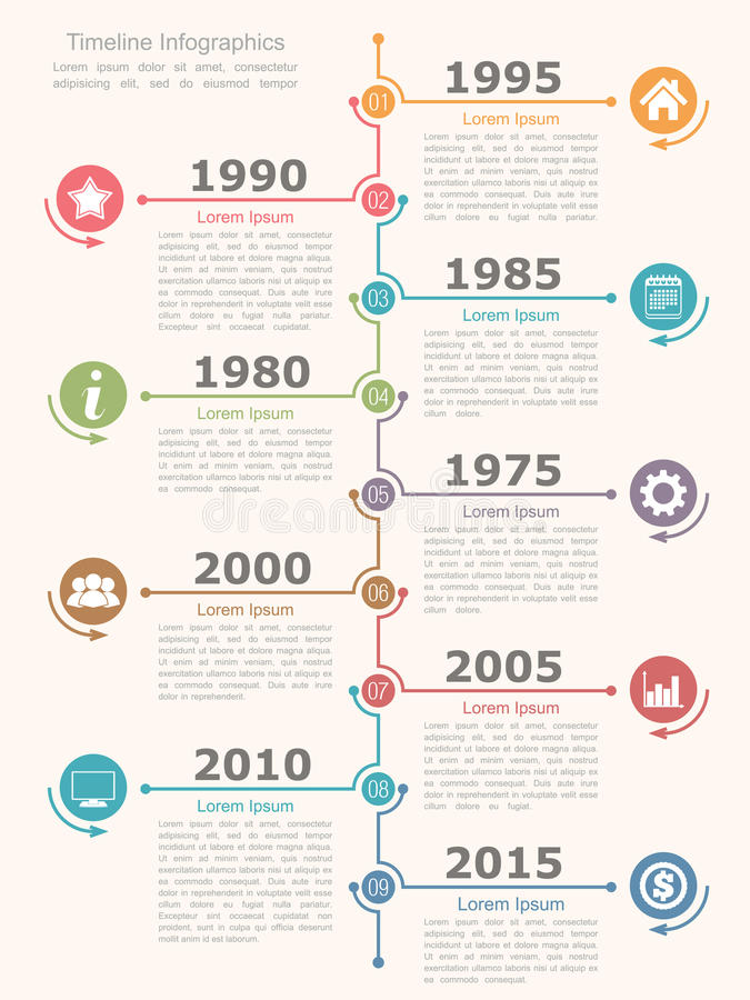Timeline Infographics. Design template with nine elements royalty free illustration