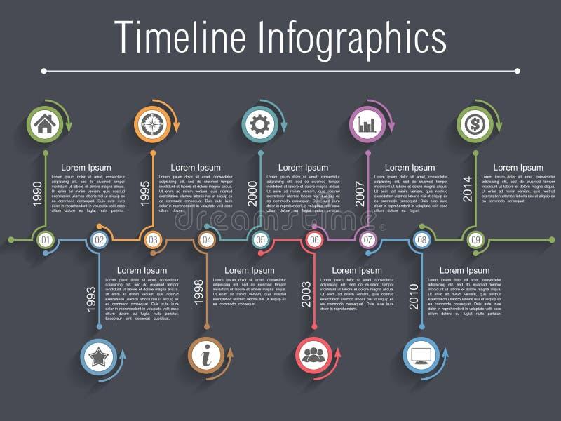 Timeline Infographics. Design template with nine elements stock illustration