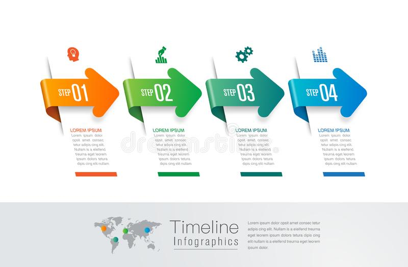 Timeline infographics design vector and marketing icons, Business concept with 4 options, steps or processes. royalty free illustration
