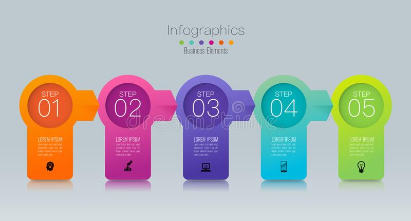 Timeline infographics design vector and marketing icons, Business concept with 5 options, steps or processes. vector illustration