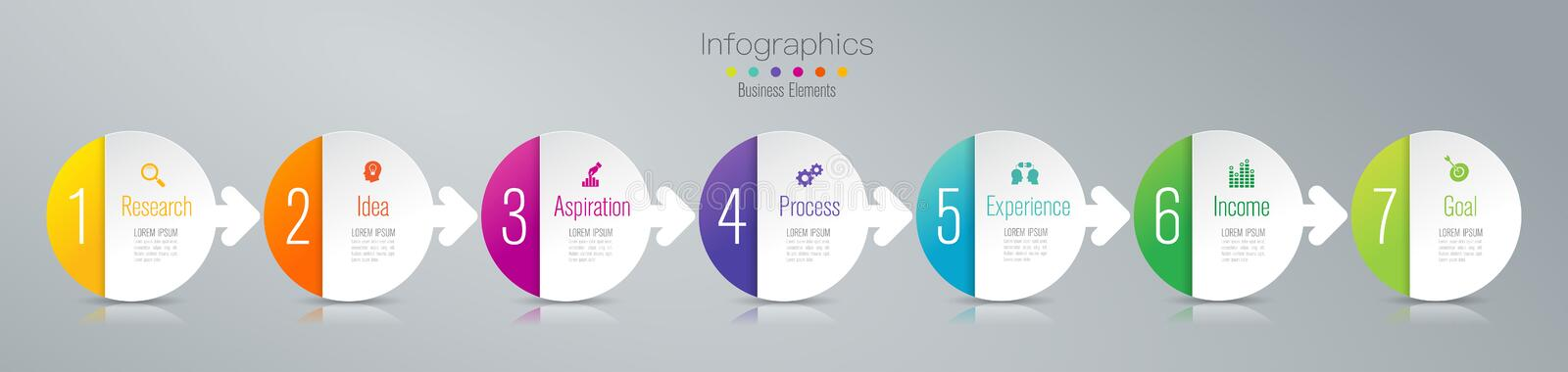 Timeline infographics design vector and marketing icons, Business concept with 7 options, steps or processes. royalty free illustration