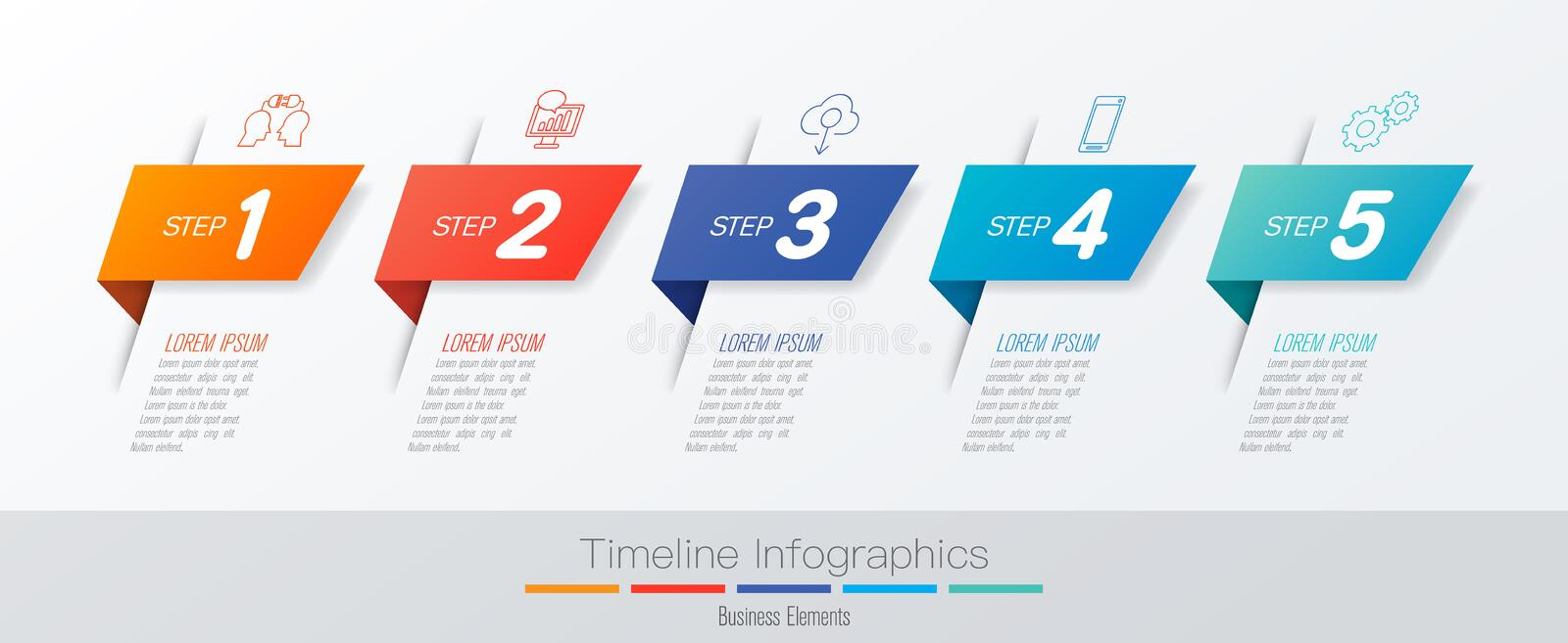 Timeline infographics design vector and marketing icons, Business concept with 5 options, steps or processes. royalty free illustration