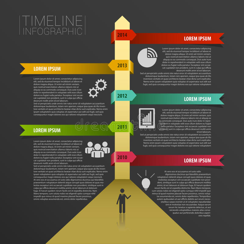 Timeline infographics, elements with icons. Vector black vector illustration