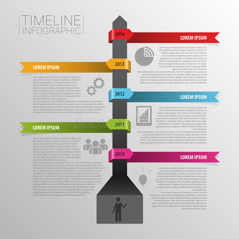 Timeline infographics, elements with icons. Vector royalty free illustration