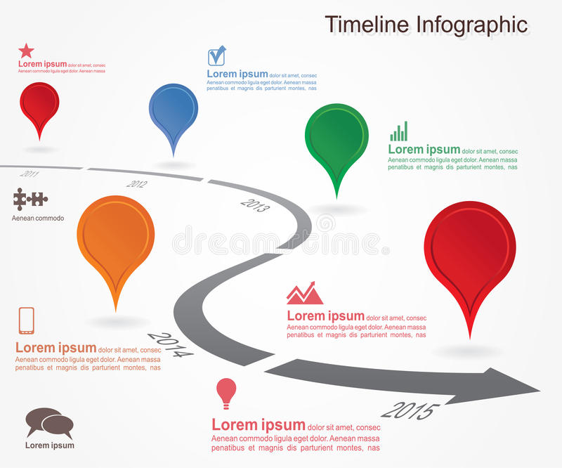 Timeline infographics with elements, icons. Vector vector illustration