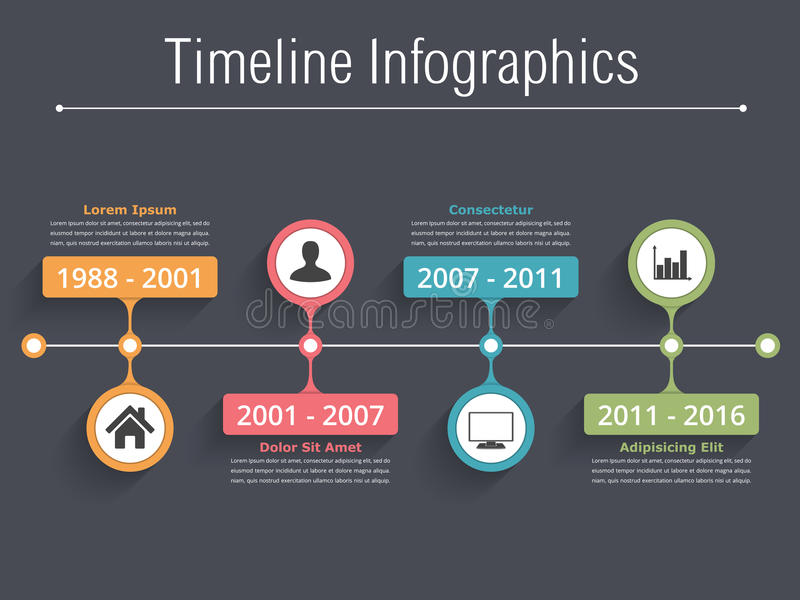Timeline Infographics. Horionztal timeline infographics template with dates, icons and text vector illustration