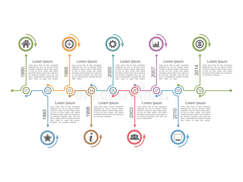 Timeline Infographics. Horizontal timeline infographics design template stock illustration