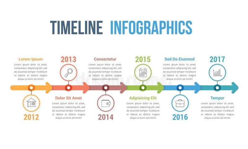 Timeline Infographics. Horizontal timeline infographics template with arrows, workflow or process diagram royalty free illustration
