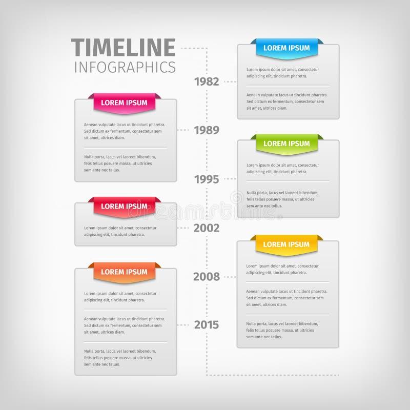 Timeline Infographics med mjuka grå färgaskar och royaltyfri illustrationer