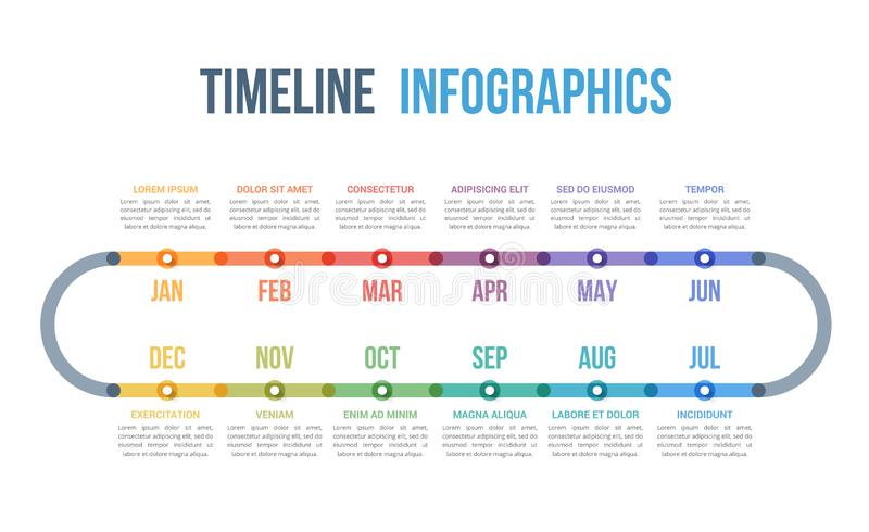 Timeline Infographics. With 12 months stock illustration