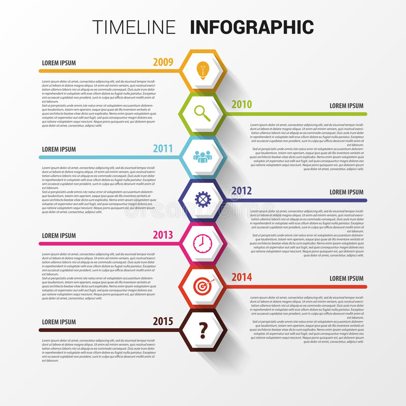 Timeline Infographics Sexhörnig designmall vektor vektor illustrationer