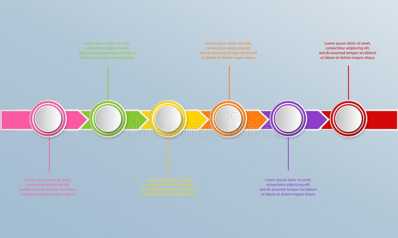 Timeline infographics template with arrows, flowchart, workflow vector illustration
