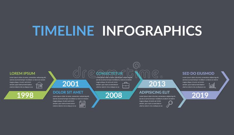 Timeline Infographics. Template with arrows, workflow or process diagram vector illustration