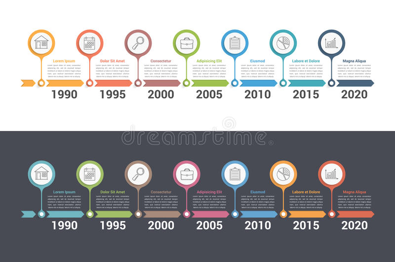 Timeline. Infographics template with colorful arrows, workflow or process diagram stock illustration
