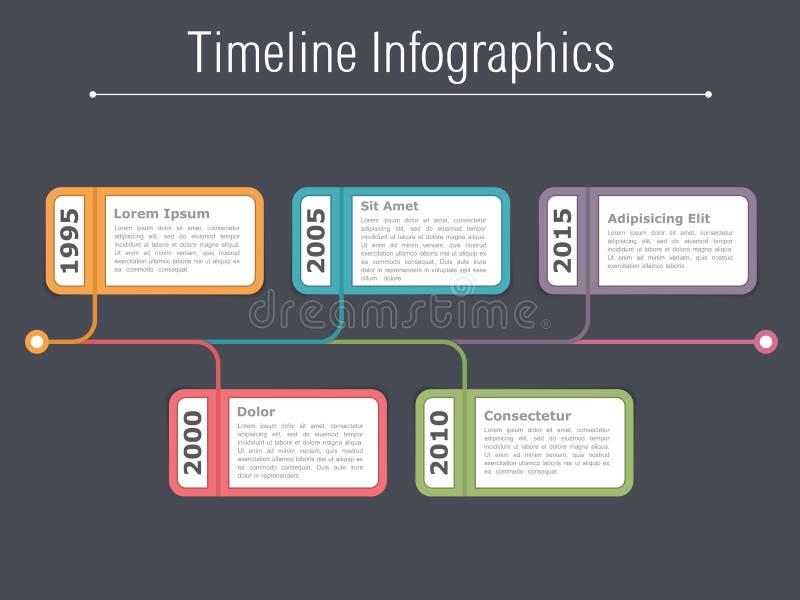 Timeline Infographics Template. Horizontal timeline infographics design template stock illustration