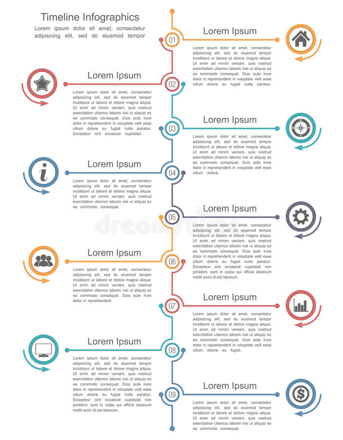 Timeline Infographics Template. With nine elements vector illustration