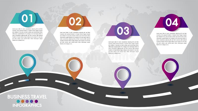 Timeline Infographics template 4 options design with a road way and navigational pointers place for your data.Vector illustration. royalty free illustration