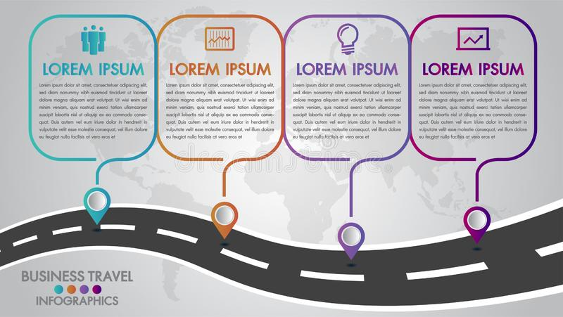 Timeline Infographics template 4 options design with a road way and navigational pointers place for your data.Vector illustration. Timeline Infographics royalty free illustration