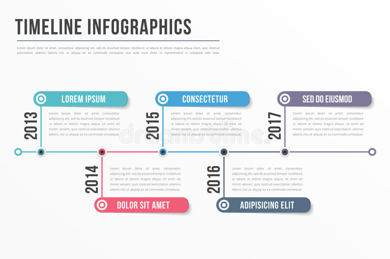 Timeline Infographics. Template, workflow, process infographics royalty free illustration