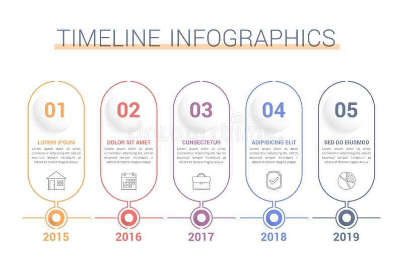 Timeline Infographics. Template, workflow or process diagram royalty free illustration
