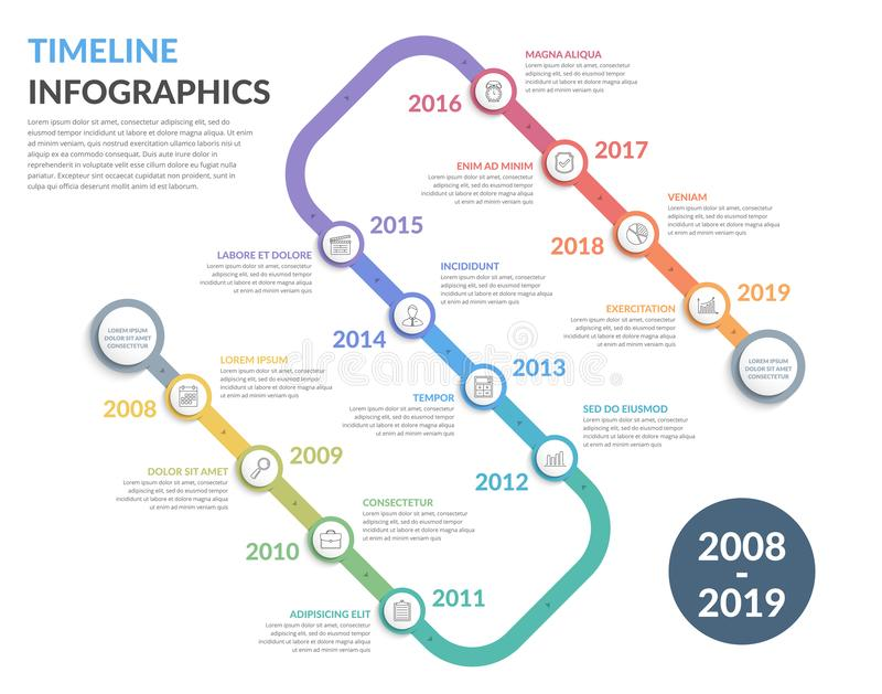 Timeline Infographics. Timeline with icons, 12 elements, infographic template for web, business, presentations royalty free illustration