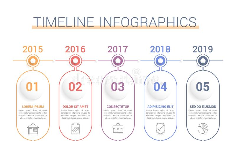 Timeline Infographics. Template, workflow or process diagram stock illustration