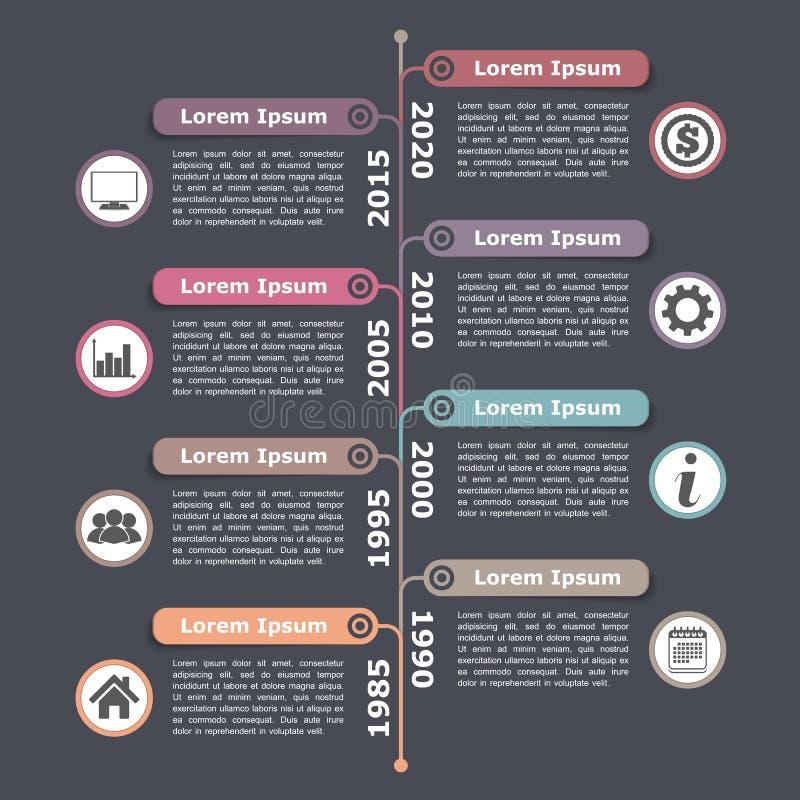 Timeline Infographics. Vertical timeline infographics design template vector illustration