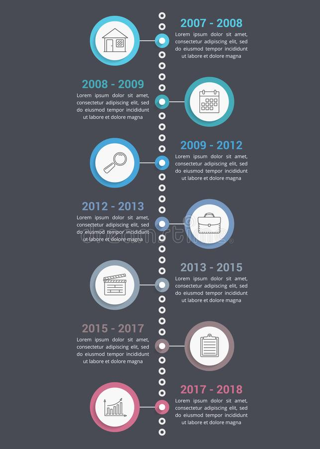 Timeline Infographics. Vertical timeline infographics template with line icons, workflow or process diagram royalty free illustration