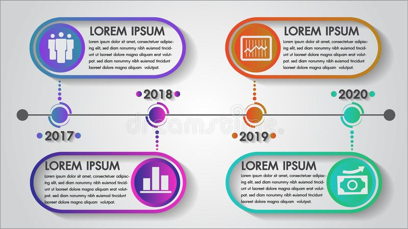 Timeline infographics year illustrator vector abstract design and marketing business icons can be used for workflow layout. stock illustration