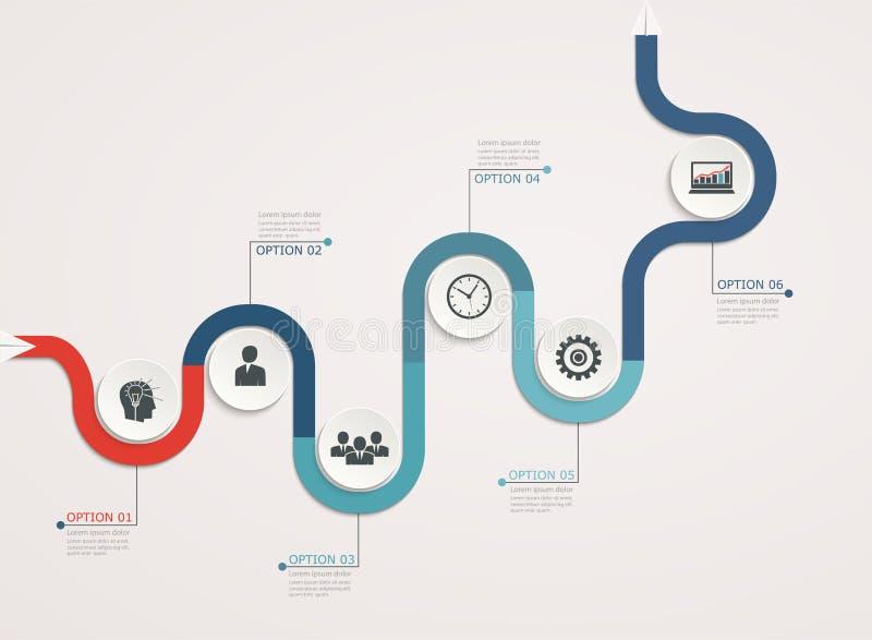 Timeline infographicsmall med den stepwise affärsstrukturen royaltyfri illustrationer