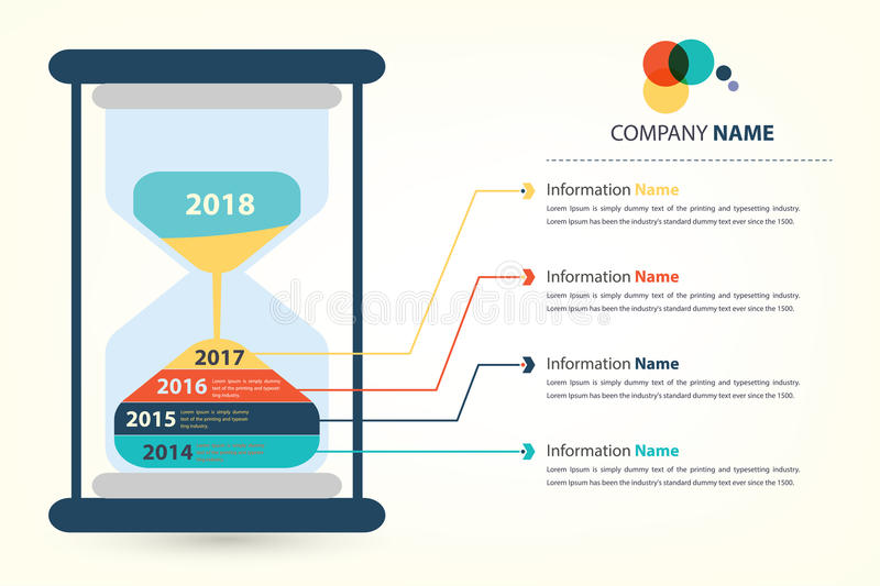 Timeline & milestone company history infographic. Presented by sandglass (vector style eps10 vector illustration