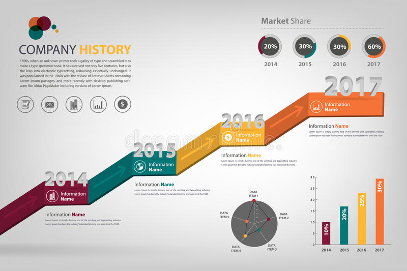 Timeline & milestone company history infographic in vector style. (eps10) presented in step up shape royalty free illustration