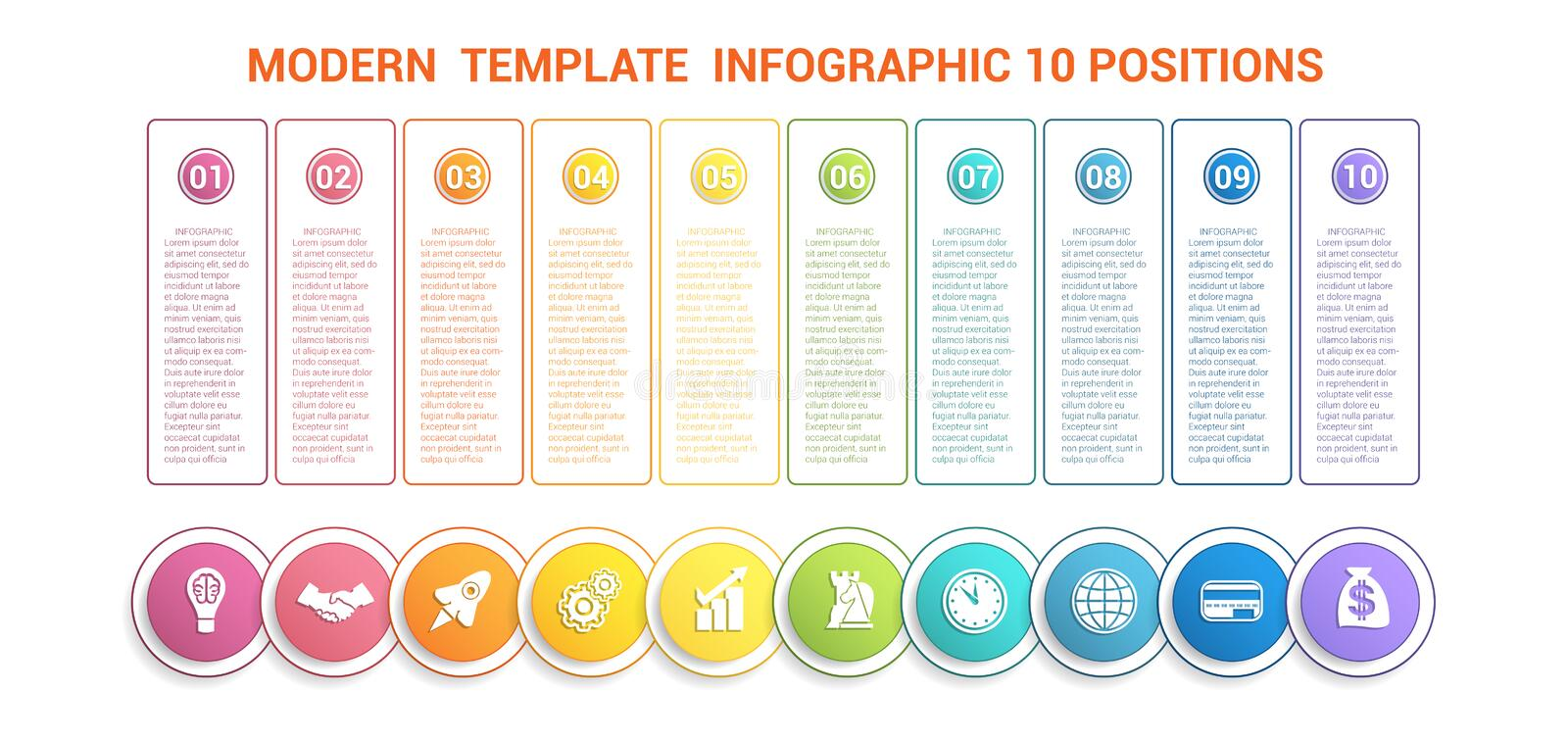 Timeline modern template infographic for business 10 steps, processes, options, parts. stock illustration