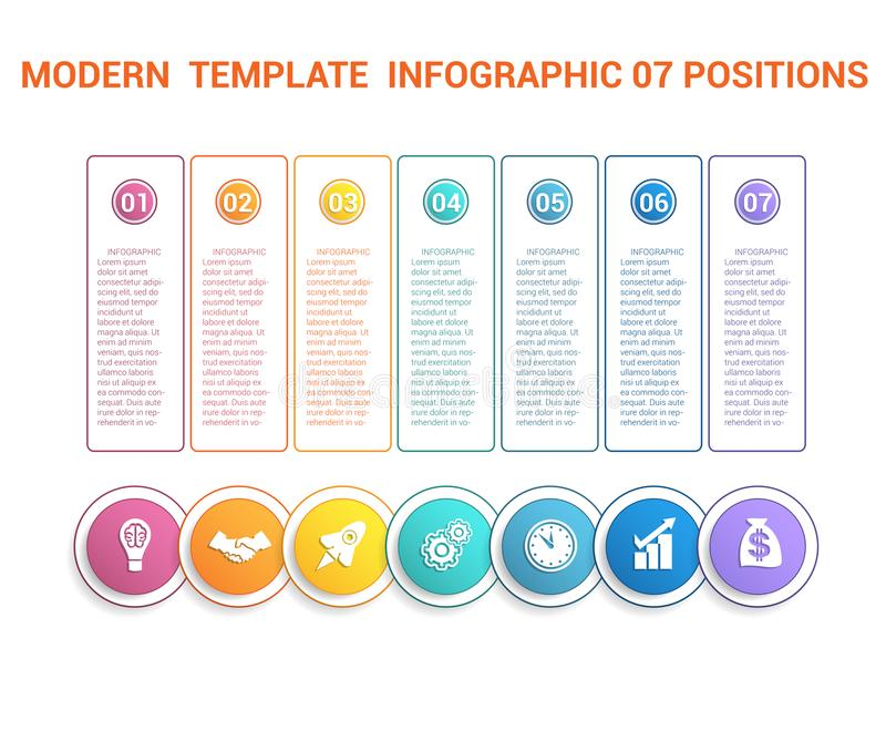 Timeline modern template infographic for business 7 steps, processes, options, parts. Colorful round numbered buttons and circles with icons, also a place for vector illustration