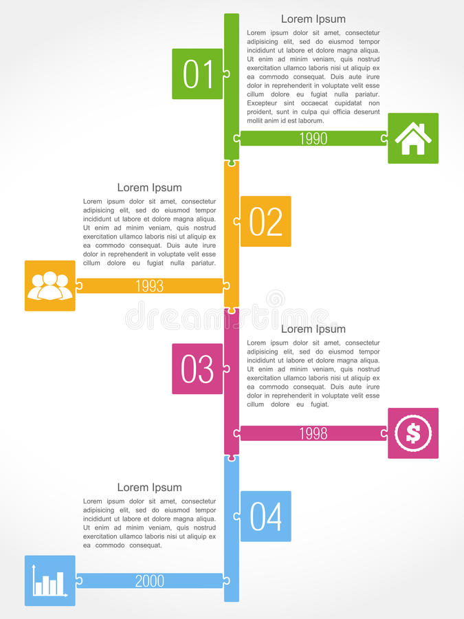 Timeline Puzzle Design. Timeline template, puzzle style design royalty free illustration