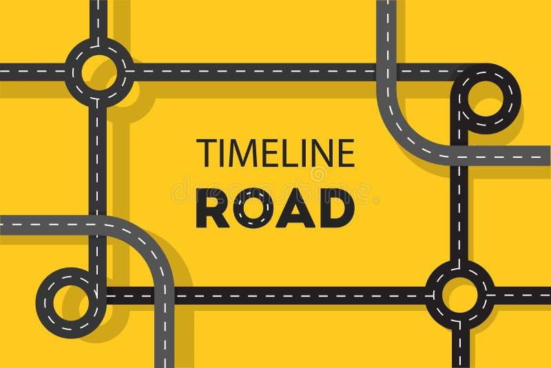 Timeline road concept web banner. Idea of journey vector illustration