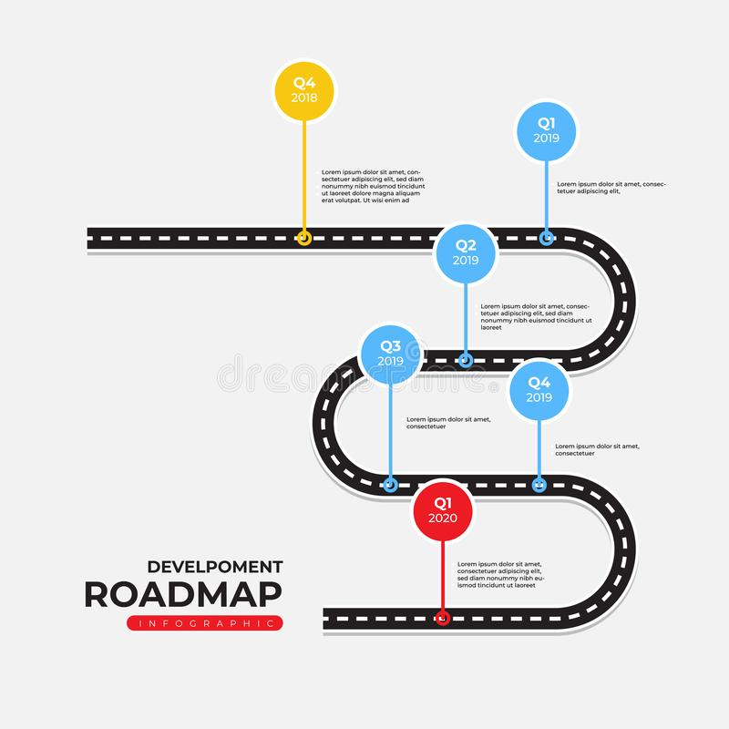 Timeline and Roadmap Infographic Template stock illustration
