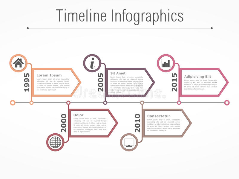 Timeline Template. Horizontal timeline infographics design template with arrows vector illustration