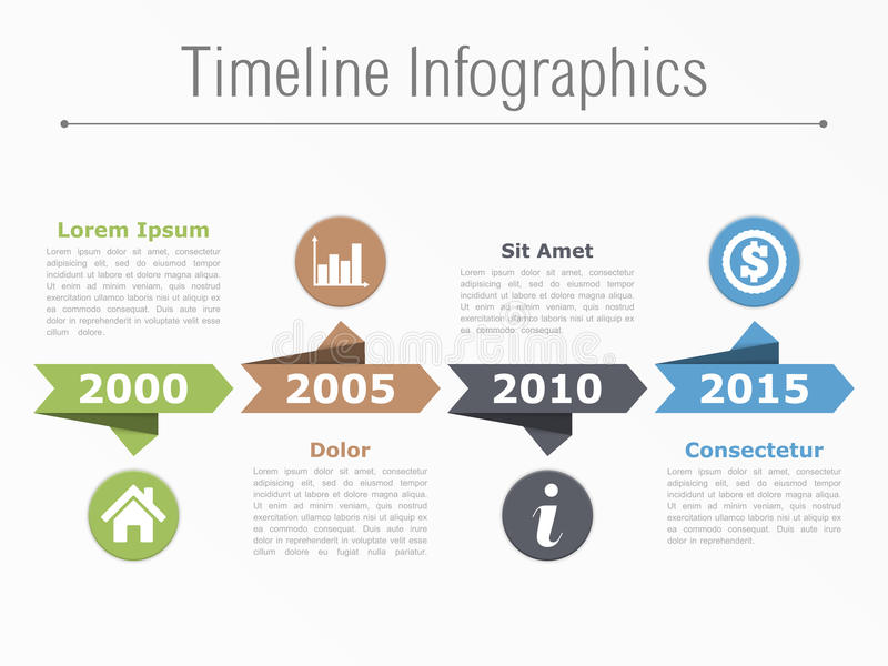 Timeline Template. Timeline infographics with arrows icons and text royalty free illustration